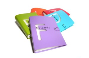 Colorful friends themed photo binder with other themed binders in the background